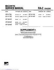 sony kp 41t35 supplemental service manual pdf download rh manualslib com Sony Handycam Manual JVC KD AVX77 Manual