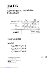 AEG CGA90WOK-F Operating And Installation Instruction
