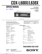 Sony CDX-L600X - Fm/am Compact Disc Player Service Manual