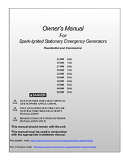 GENERAC POWER SYSTEMS 22 KW OWNER'S MANUAL Pdf Download