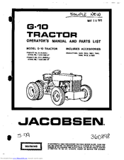 jacobsen g-10 operator's manual and parts list