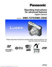 Panasonic dmc-zs50 advanced digital camera user guide instruction.