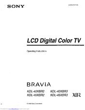 sony bravia kdl 46xbr3 manuals rh manualslib com Sony BRAVIA 46 User Manual Sony BRAVIA XBR