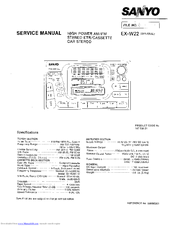 Sanyo EX-W22 Service Manual