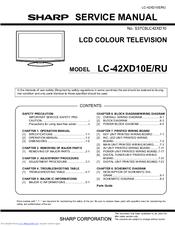 Sharp Aquos Lc 42xd10e Manuals Manualslib