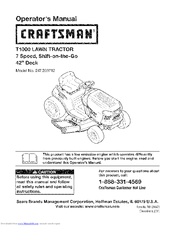 Craftsman T1000 247.203702 Operator's Manual