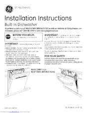 GE ADT521PGF4WS Installation Instructions Manual