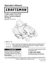 Craftsman T1200 247.203722 Operator's Manual