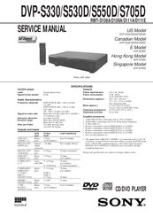 Sony DVP-S330 - Dvd Video Player Service Manual