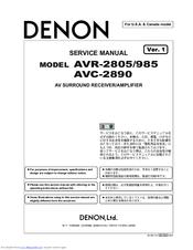 denon avr 2805 manuals rh manualslib com Denon Remote AVR -2800 Denon AVR 2805 Heat Problems