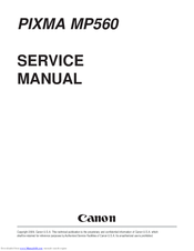 canon pixma mp560 service manual pdf download rh manualslib com Canon PIXMA MP500 Canon PIXMA MP620