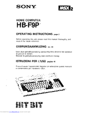 Sony MSX2 HB-F9P Hit Bit Operating Instructions Manual