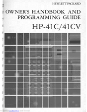 HP HP-41C Owner's Handbook Manual