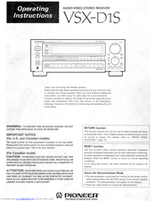 Pioneer vsx d1s manuals fandeluxe Choice Image