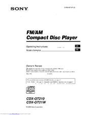 Sony CDX CDX-GT210 Manuals