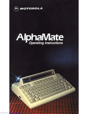 Motorola AlphaMate Operating Instructions Manual