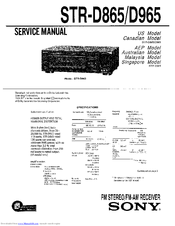 Sony STR-D865 Service Manual