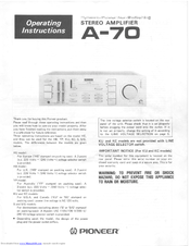 Pioneer A-70 Operating Instructions Manual