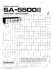 Pioneer SA-5500II Operating Instructions Manual