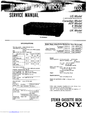 Sony TC-WR520 Service Manual