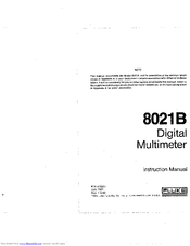 fluke 8021b manuals rh manualslib com Fluke 77 BN Owner's Manual Fluke Service Manuals