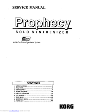 Korg Prophecy Service Manual