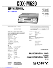 sony cdx m620 fm am compact disc player manuals sony cdx m620 fm am compact disc player service manual