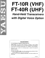 Yaesu FT-10R Instruction Manual