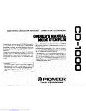 Pioneer CD-1000 Owner's Manual