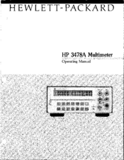 HP 3478A Operating Instructions Manual