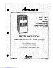 Amana GUX Series Service Instructions Manual