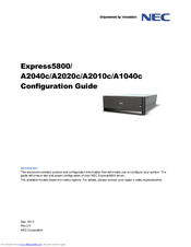 NEC Express5800/A2010c Configuration Manual