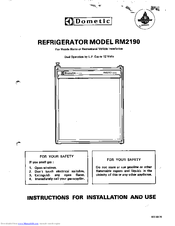 Dometic RM2190 Series Instructions For Installation And Use Manual