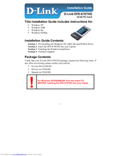 D-Link DFE-670 TXD Installation Manual