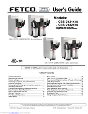 Fetco Coffee Brewer Manual Cbs 2052e : Fetco CBS-2131 XTS Manuals