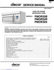 DACOR PMOR30B SERVICE MANUAL Pdf Download. on