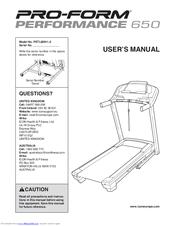 Pro-form 650 Cardio Cross Trainer Manuals