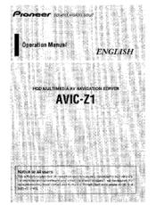 pioneer avic z1 operation manual pdf download rh manualslib com pioneer hdd avic-hd1bt manual Touch Screen Car Radio Pioneer AVIC-Z1