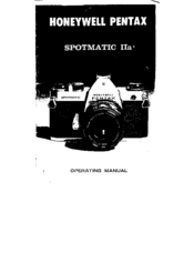 Honeywell Spotmatic Iia Operating Instructions Manual