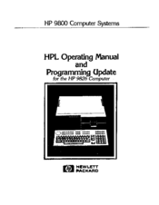 HP 9826 Operating Manual And Programming Update