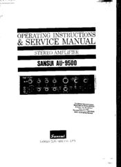 Sansui au-9500 stereo amp op instructions and service manual inc.