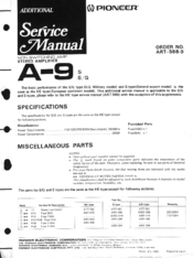 Pioneer A9 Service Manual