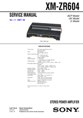 Sony XM-ZR604 - AMPLIFIER 4 CHANNEL Manuals | ManualsLibManualsLib