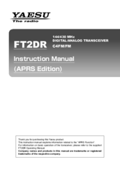 Yaesu FT2DR Instruction Manual