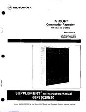 Motorola MICOR Supplement To Instruction Manual