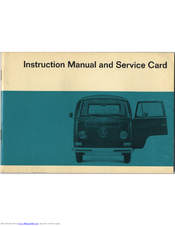 Volkswagen TRANSPORTER 1967 Instruction Manual