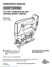 Craftsman 315.114281 Operator's Manual