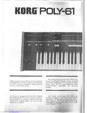 Korg POLY-61 Owner's Manual