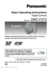 Panasonic Lumix DMC-FZ72 Basic Operating Instructions Manual