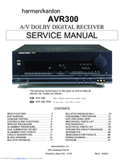 Harman Kardon AVR 300 Manuals on
